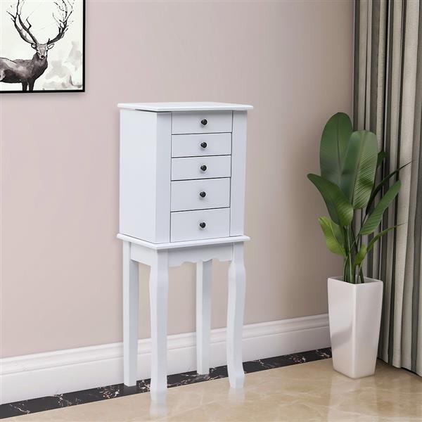 Standing Jewelry Armoire with Mirror, 5 Drawers & 8 Necklace Hooks, Jewelry Cabinet Chest with Top Storage Organizer , 2 Side Swing Doors(White)