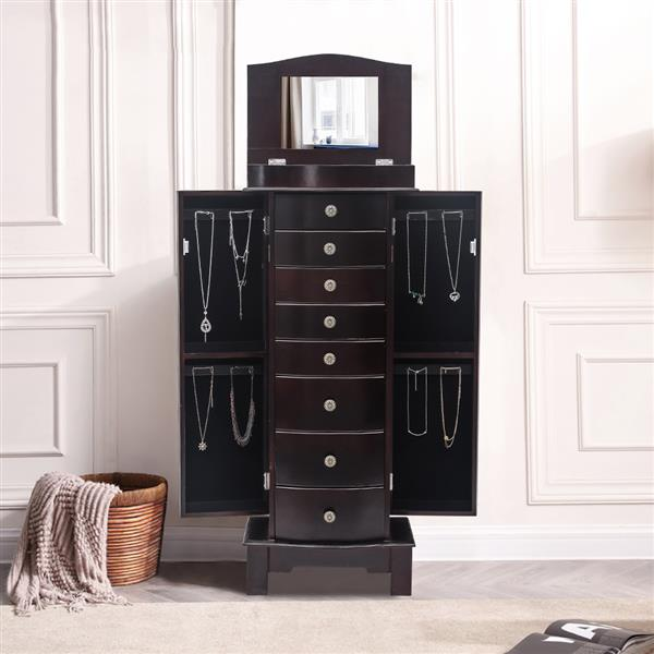 Jewelry Armoire with Mirror, 8 Drawers & 16 Necklace Hooks,  2 Side Swing Doors(Brown)