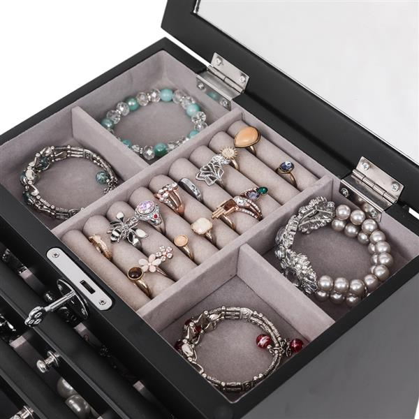 Handcrafted Wooden Jewelry Box Organizer Wood  6 Layers Case with 5 Drawers-Black