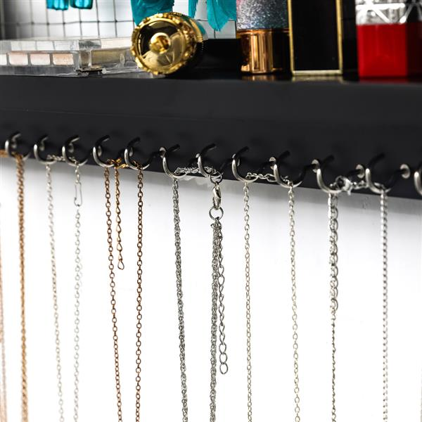 Jewelry Manager - Wall Mounted Jewelry Stand With Detachable Bracelet Bar, Shelf And 16 Hooks - Perfect Earrings, Necklaces And Bracelet Stand - Black