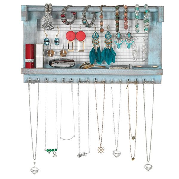 Jewelry Manager - Wall Mounted Jewelry Stand With Detachable Bracelet Bar, Shelf And 16 Hooks - Perfect Earrings, Necklaces And Bracelet Stand - Blue