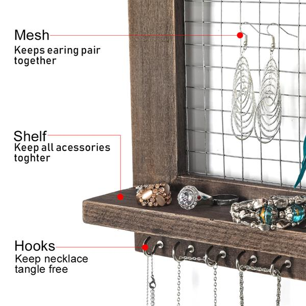 Jewelry Manager - Wall Mounted Jewelry Stand , Shelf And 16 Hooks - Perfect Earrings, Necklaces And Bracelet Stand - Brown