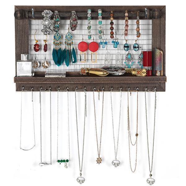 Jewelry Manager - Wall Mounted Jewelry Stand With Detachable Bracelet Bar, Shelf And 16 Hooks - Perfect Earrings, Necklaces And Bracelet Stand - Brown