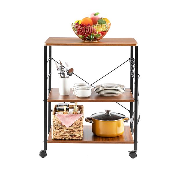 Kitchen Microwave Cart 3-Tier Kitchen Utility Cart Vintage Rolling Bakers Rack