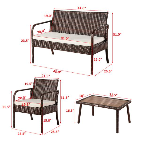 OSHION Outdoor Leisure Rattan Furniture Rattan Chair Small Four-piece Coffee Table Solid Wood Coffee Table-Brown