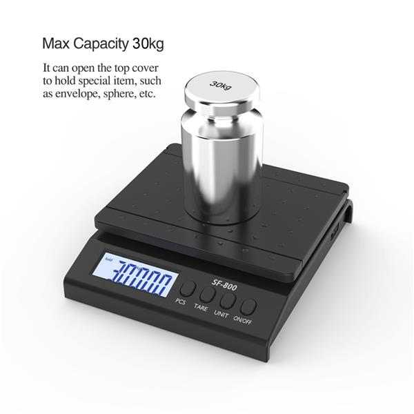 SF-800 30KG/1G High Precision LCD Digital Postal Shipping Scale with Adapter Black