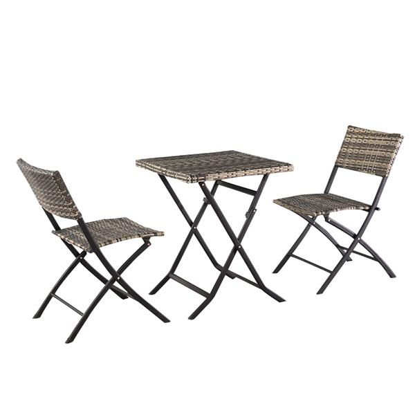 [US-W]Oshion Folding Rattan Chair Three-Piece Square Table-Grey
