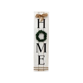 (旧编码:06917768)HOME W/ WREATH WOODEN WALL SIGN/WHITE  (MR 021A1)