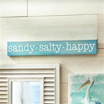 (旧编码:28135886)SANDY SALTY HAPPY WOODEN SIGN/TEAL (MR 058)