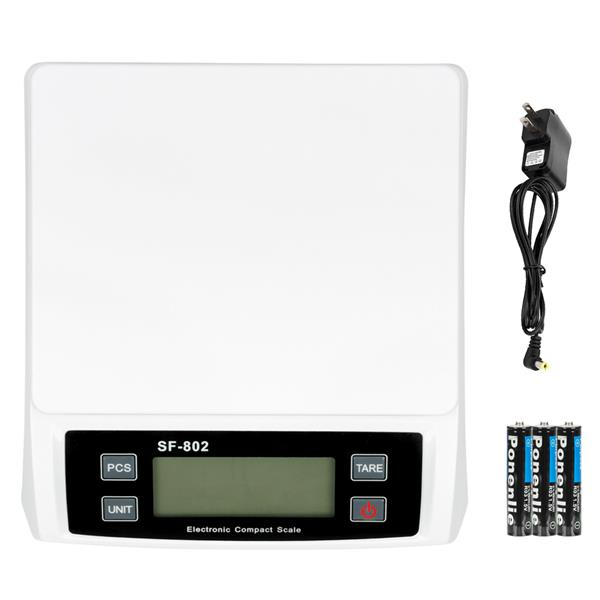 [US-W]SF-802 30KG/1G High Precision LCD Digital Postal Shipping Scale White with adapter