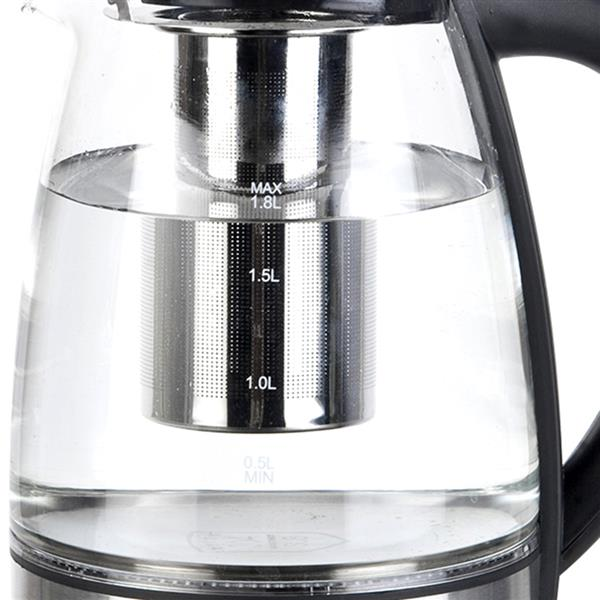 [US-W]Electric Kettle Glass Water Boiler Fast Boiling Tea Kettle 1.8L Stainless LED