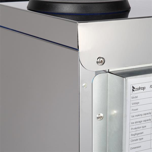 ZOKOP BY-90PF 495W 68KG / H 120V / 60HZ American Standard Stainless Steel Transparent Cover Commercial Ice Machine