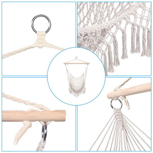 [US-W]Cotton Rope Sling With Tassel Beige