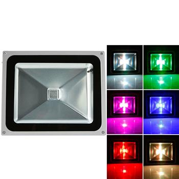 50W IP65 Waterproof RGB Aluminium Alloy LED Flood Light with Remote Control & Memory (AC 90-260V) Gr