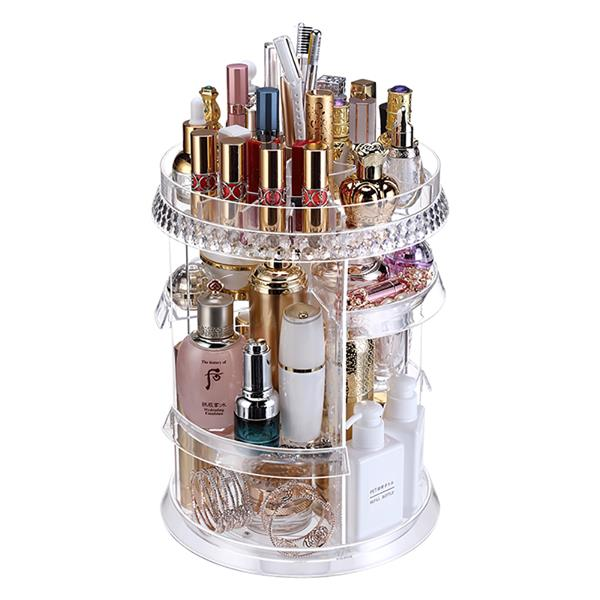 Makeup Organizer 360 Degree Rotation 7 Layers Adjustable Storage Different Kinds of Cosmetics Multi-Function Large Capacity Makeup Storage Organizer Great for Bathroom Dresser Vanity