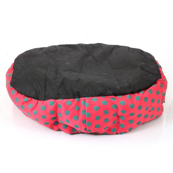 [US-W]Nice-looking Dot Pattern Octagonal Flannelette & Cotton Pet Bed Rose Red L