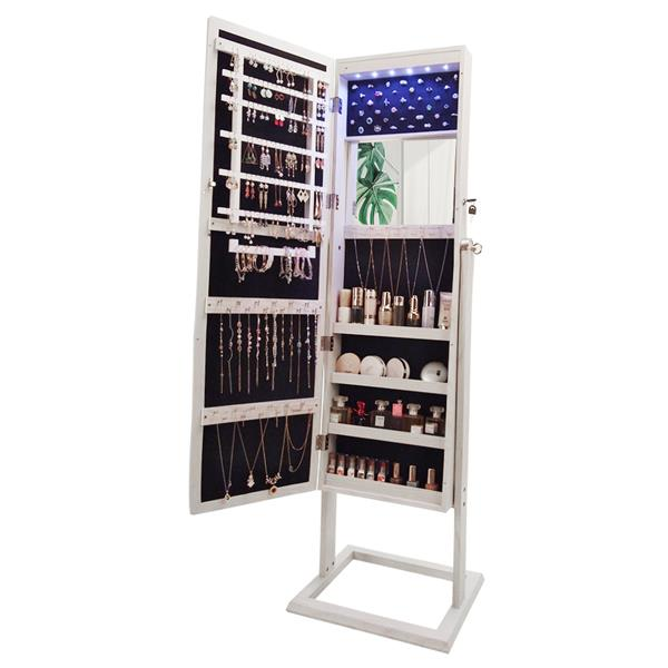 [US-W]Archaize PVC Wood Grain Coating Upright Square Jewelry Storage Dressing Mirror Cabinet with LED Light White