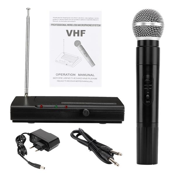 SH-200 VHF Wireless Microphone System Dual Handheld 1 x Mic Cordless Receiver Black