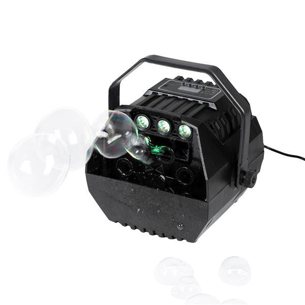 [US-W]LED Automatic Bubble Machine Wireless Remote Control for Outdoor/Indoor Use with 2 Speed Levels Powered by Plug-in or Batteries Black