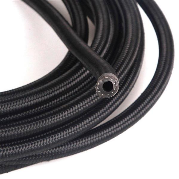 6AN 15ft Universal Stainless Steel Nylon Braided Fuel Hose Black