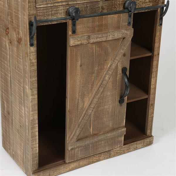 [US-W]Classic American Country Style Single Barn Door With 2 Drawers Vintage Wooden Cabinets