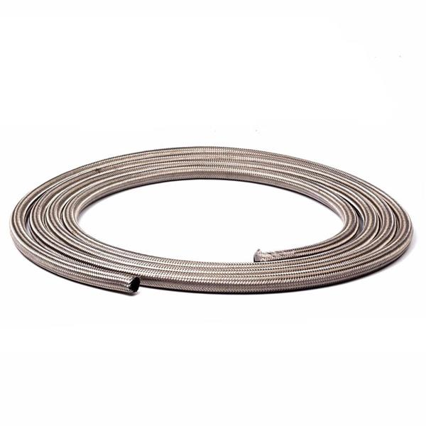 6AN 20Ft General Type Stainless Steel Braided Fuel Hose Silver