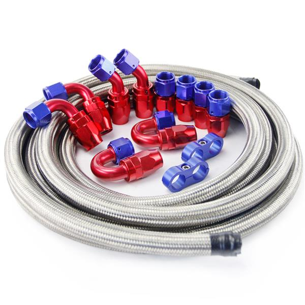 Universal 15ft AN-8 Silver Nylon Braided Hose with 10pcs Red & Blue Hose Ends and 2pcs Hose Separato