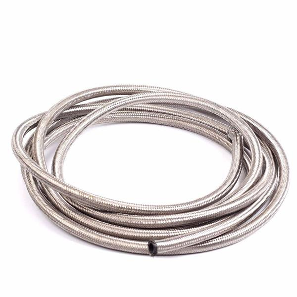 8AN 10Ft General Type Stainless Steel Braided Fuel Hose Silver