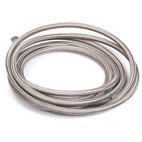 Universal 12ft AN-6 Silver Nylon Braided Hose with 6pcs Red & Blue Hose Ends and 2pcs AN-6 to AN-10