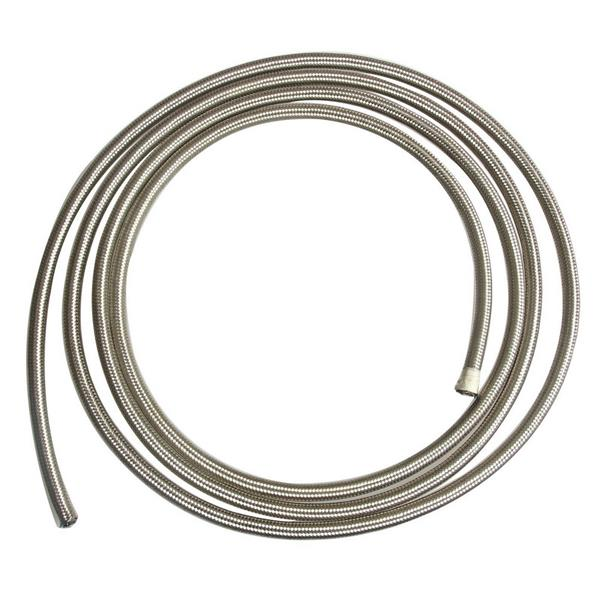 6AN 5ft Universal Stainless Steel Nylon Braided Fuel Hose Silver
