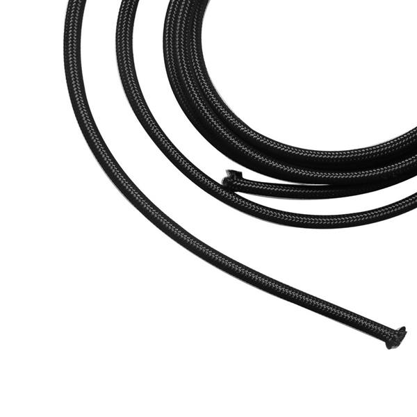 6AN 5ft Universal Stainless Steel Nylon Braided Fuel Hose Black