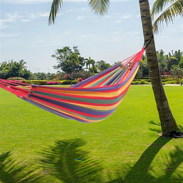 [US-W]200*150cm Portable Polyester & Cotton Hammock Four Red