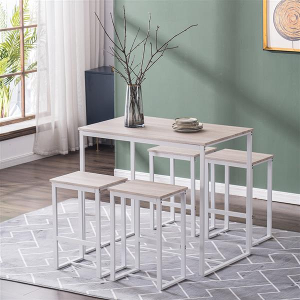 (100 x 60 x 87)cm Oak Simple 87cm High Bar Table and Chairs Set of 5 PVC Paper Lacquered White matte White