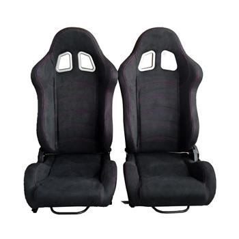 A Pair of Leather Red Red Single Adjuster Double Track Racing Seats Black