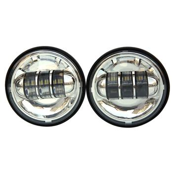 "2pcs 4.5"" 30W 6-LED 6500K White Light IP67 Die-cast Aluminum Fog Lamps for Harley Motorcycle Black"