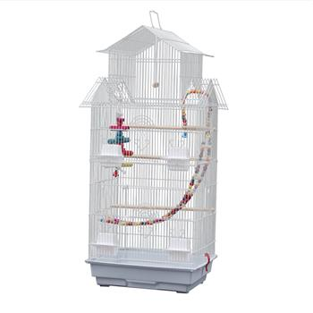 "39"" Bird Cage Pet Supplies Metal Cage with Open Play Top with three Additional Toys White"