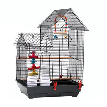 "30"" Bird Cage Pet Supplies Metal Cage with two Additional Toys Black"