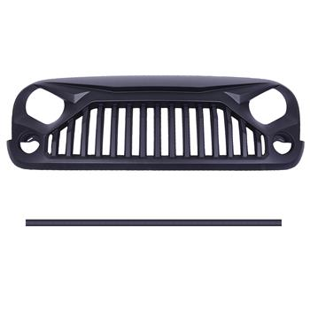 ABS Plastic Car Front Bumper Grille for 2007-2018 Jeep Wrangler JK ABS Plastic Coating with Rivet QH-CH-001 Black