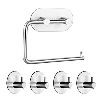 Rustproof SUS304 Stainless Steel  Adhesive Hooks Bathroom Accessories Set Towel Hook Tissue Holder High-strength Nail-free Sticker Brushed Finished 4pcs Robe Hook 1 Paper Holder