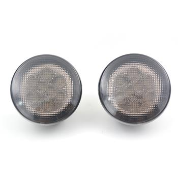 Pair 12V 4W 2000K Yellow Light Waterproof Grill Left Turn Signal LED Front Lights for 07-15 Jeep Wrangler Black