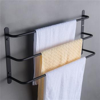 SUS304 Stainless Steel Matte Black Bathroom Accessories Set Stagger Layers Towel Bar Three Bars Towel Rack 17.72 inches Bars KJWY003HEI-45CM