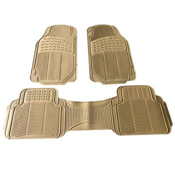 3pcs Replacement Anti-slip Rubber Car Floor Mats Beige