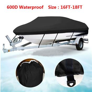 16-18ft 600D Oxford Fabric High Quality Waterproof Boat Cover with Storage Bag Black