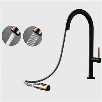 Pull-Down Kitchen Sink Faucet with Spray Head Copper Mixer Tap Matte Black Pull-out Kitchen Faucet KJZY80HEI