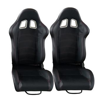 A Pair Of PVC Single Adjuster Double Track Racing Seats Black