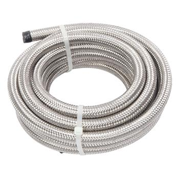 6AN 16-Foot Universal Stainless Steel Braided Fuel Hose Silver