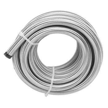 10AN 20-Foot Universal Stainless Steel Braided Fuel Hose Silver