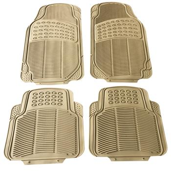 4pcs Replacement Anti-slip Rubber Car Floor Mats Beige