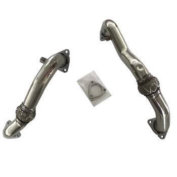Exhaust Manifold Heavy Duty Polished Up Pipes For 2008-2010 Ford 6.4L Powerstroke Diesel No EGR