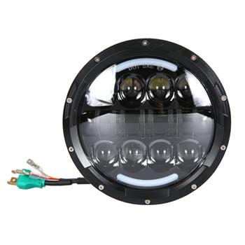 "2pcs 7"" 80W 8-LED 6500-7000K White Light IP67 Waterproof LED Headlights for Motorcycles Black"